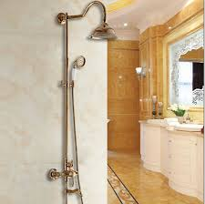 golden bathroom shower column faucet wall: free shipping new luxury rose gold wall mounted rainfall bath amp shower faucet with hand held