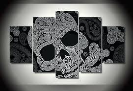 skull wall art 5 pieces skull art canvas painting skeleton poster prints home decor wall art skull wall art
