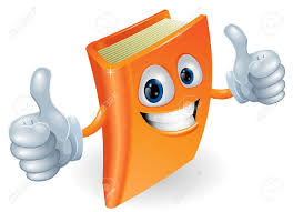 a happy book cartoon character mascot ilration giving a double