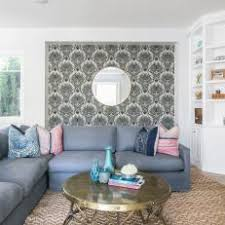 Coastal Living Room With Seashell-Wallpaper Accent Wall