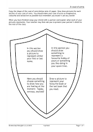 Design A Coat Of Arms Worksheet Ks3 Writing Autobiography Writing Teachit English