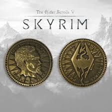 elder scrolls skyrim collector s coin limited edition antique gold variant merchandise zavvi