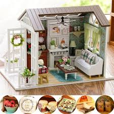 diy kits wood dollhouse miniature house handicraft idea toy happy times gift set
