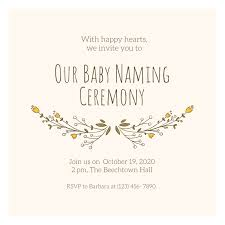 Gold Baby Naming Ceremony Invitation Templates By Canva