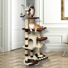 premium cat tree tower condo scratch furniture 64 brown and white com