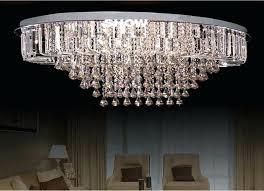 new luxury flush mount oval modern big crystal chandelier ceiling lamp led light for living room