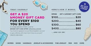 as shown above bloomingdale s is running a promotion for a 20 bmoney gift card for every 100 you spend as far as i can tell the bmoney gift card is