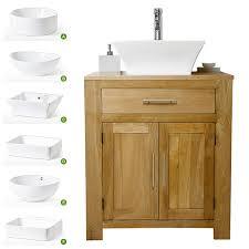 solid oak vanity unit with basin sink 700mm bathroom prestige