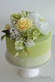 Sugar Paste Cake Decorating Sugar Flower Cake In Soft Green And Yellow Shades Peonies Roses