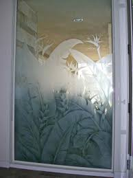 Frosted Glass Designs Etched Window Glass Frosted Tropical Leaves Love Nest Bath
