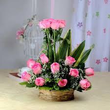 basket of 15 fresh pink roses