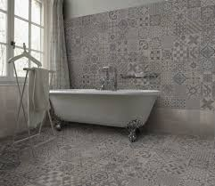 An eclectic design of warm grey patterns, a clever mix of organic vintage  patterns alongside. Wall And Floor TilesBathroom ...