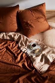 rust 100 flax linen bedding set in