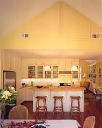 Vaulted kitchen ceiling lighting Shaped Kitchen Amazing Kitchen Design Ideas Using Pale Yellow Cottage Style Kitchen With Vaulted Ceiling Lighting And Bar Craftbeerstorelbcom Lighting Beautify The Room In Your House With Vaulted Ceiling