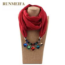 runmeifa necklaces pendants scarf pure chiffon scarf alloy beads jewelry pendant scarf brand women bijoux ethnique neckerchief