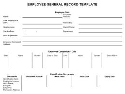Employee General Record Template Data Sheet