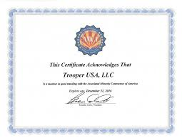 Business Letters Certifications Trooperusa Com
