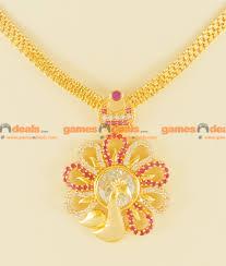nckn88 bright attractive peacock ruby zircon big stone gold plated necklace