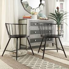 Low Back Dining Room Chairs Homesullivan Walker Black Wood Metal Low Back Dining Chair Set