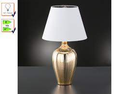 Tischleuchte Mit Stoff Lampenschirm Weiß Nachttischlampe Gold Fürs