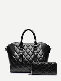 Double Buckle Quilted Tote Bag With Purse -SheIn(Sheinside) &  Adamdwight.com