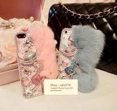 bling bling rhinestone fox and otter rabbit hair diy phone case deco den kit