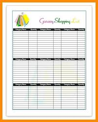 Shopping Spreadsheet Blank Grocery List Spreadsheet Meal Planning Template