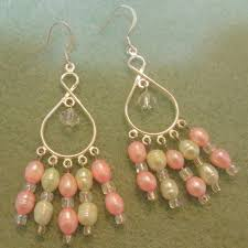 pink and green fresh water pearl chandelier earrings crystal glass