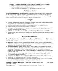 Resume For Manufacturing Dew Drops