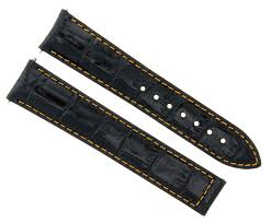 details about 22mm leather watch strap band deploy clasp for zenith black orange stitch 21