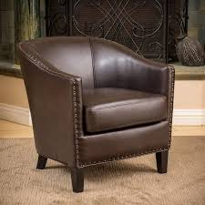 austin brown bonded leather club chair by christopher knight home