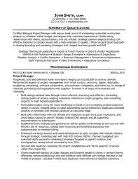 48 Fresh Project Management Summary Example Resume Template