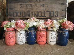 Blue Mason Jars Wedding Decor Navy Blue and Gold Wedding Mason Jar by CarolesWeddingWhimsy 98
