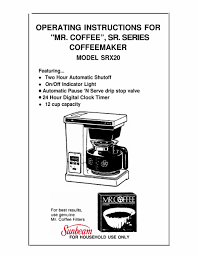 Coffee pdf user manuals, service manuals, operating guides. Mr Coffee Srx20 Operating Instructions Manual Pdf Download Manualslib