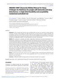 Acceptability pdf Manual For And dementia People A Single-blind Dementia Dreams-start Controlled Randomized With Sleep; Related Strategies Feasibility Disturbances Relatives Sleep Trial