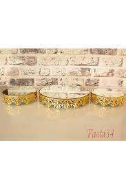 3'lü Jardinyer Set Altın Renk