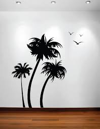 palm tree wall stickers: three palm trees vinyl wall decal with seagulls
