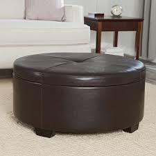 round dark brown leather ottoman with storage plus small