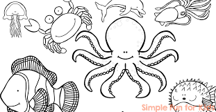 Small Picture Ocean Creatures Coloring Pages Simple Fun for Kids