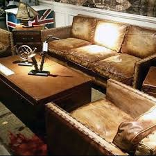 Cool Brown Leather Man Cave Couches With Rivet Decor