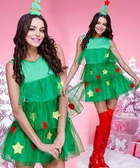 Woman In Christmas Tree Dress On Grey Background Stock Photo Girls Christmas Tree Dress