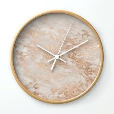 copper wall clock rose gold copper glitter metal foil style marble wall clock large copper wall
