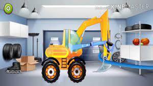 Game giải trí cho bé, xe cần cẩu, xe máy xúc, xe ben, xe tải - GIẢI