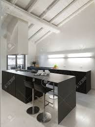 Kitchen Marble Floor Modern Island Kitchen With Wood Ceiling And Marble Floor In The