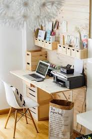 small home office storage. hanging storage containers and desk with drawers for small office home