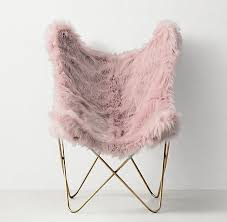 pink faux fur aged brass erfly chair