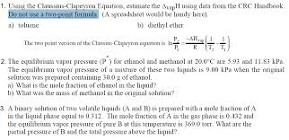 total pressure equation chemistry. using the claussius-clapeyron equation, estimat total pressure equation chemistry