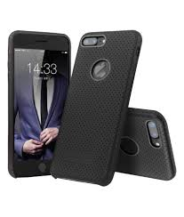 iphone 7 plus perforated leather back case black color