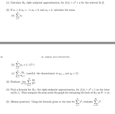 Endpoint Formula Solved 1 Calculate R4 Right Endpoint Approximation Fo