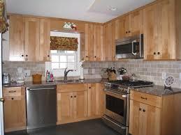 Light Grey Kitchen Walls With Oak Cabinets Brick Bone Light Gray Ceramic Back Splash Decor With